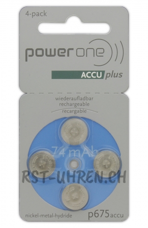 Hörgeräte Akku power one ACCU plus p675